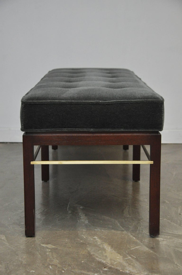 Dunbar Bench by Edward Wormley in Gray Mohair with Brass Stretchers For Sale 1