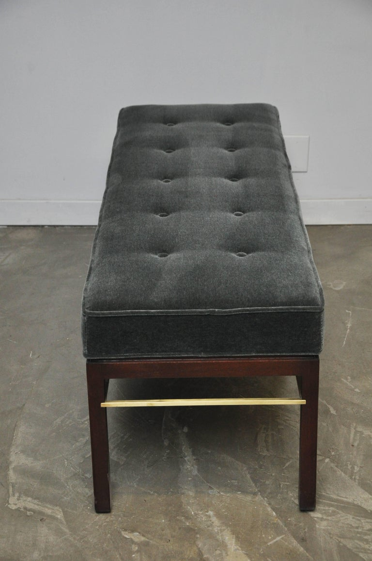 Dunbar Bench by Edward Wormley in Gray Mohair with Brass Stretchers For Sale 3