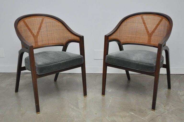 Pair of Y-back walnut frame