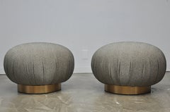 Pair of Adrian Pearsall Swivel Pouf Ottomans on Bronze Bases