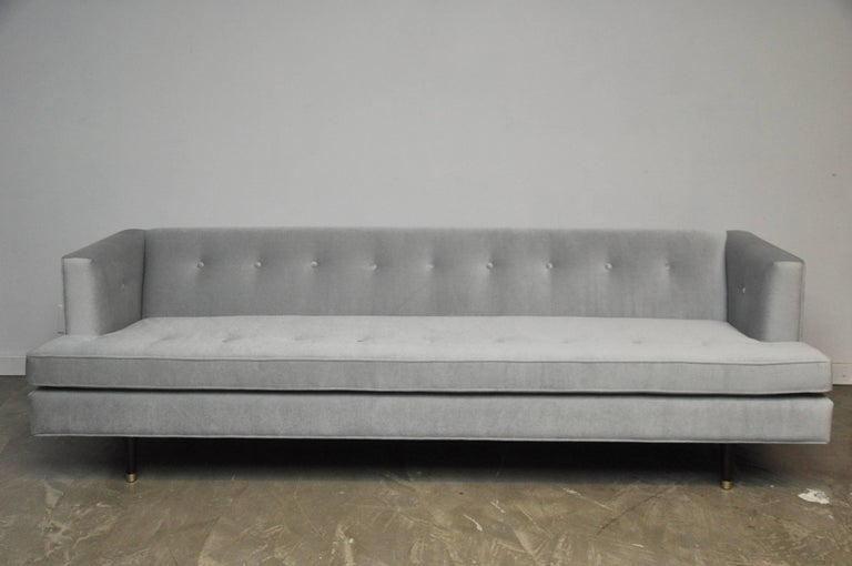 Classic Dunbar sofa by Edward Wormley. Fully restored and reupholstered in light grey mohair.