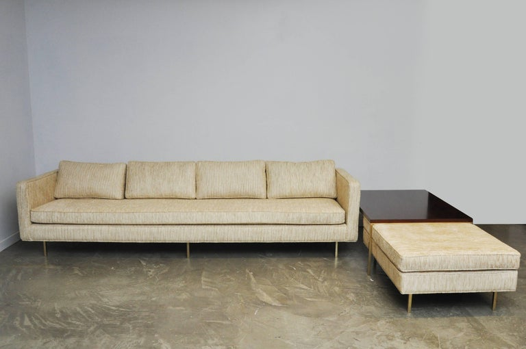 Harvey Probber Even Arm Sofa on Brass Legs 5