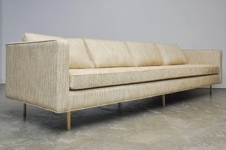 Harvey Probber Even Arm Sofa on Brass Legs 8