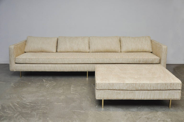 Harvey Probber Even Arm Sofa on Brass Legs 3