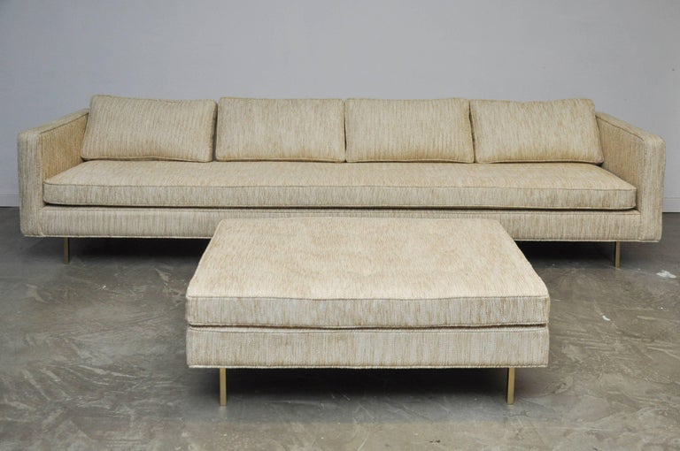 Harvey Probber Even Arm Sofa on Brass Legs 4