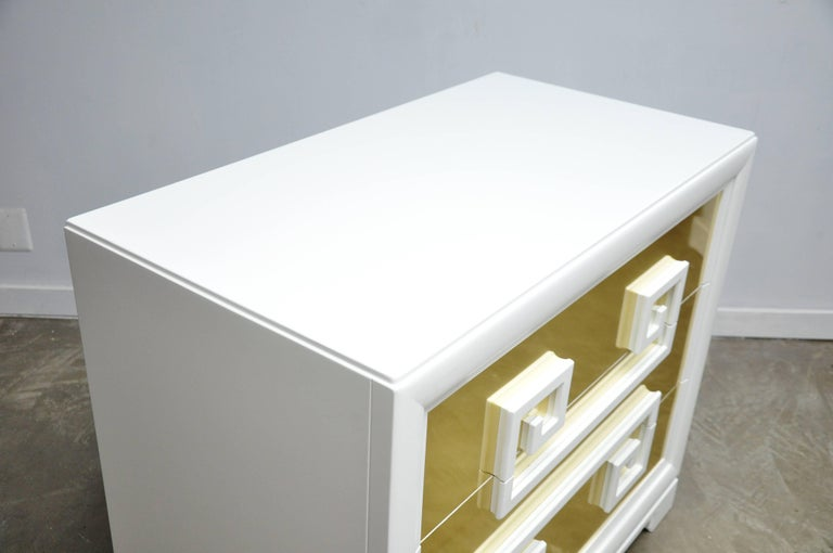 """Mid-Century Modern Kittinger """"Greek Key Chests"""" in White Lacquer with Brass-Clad Drawer Fronts For Sale"""