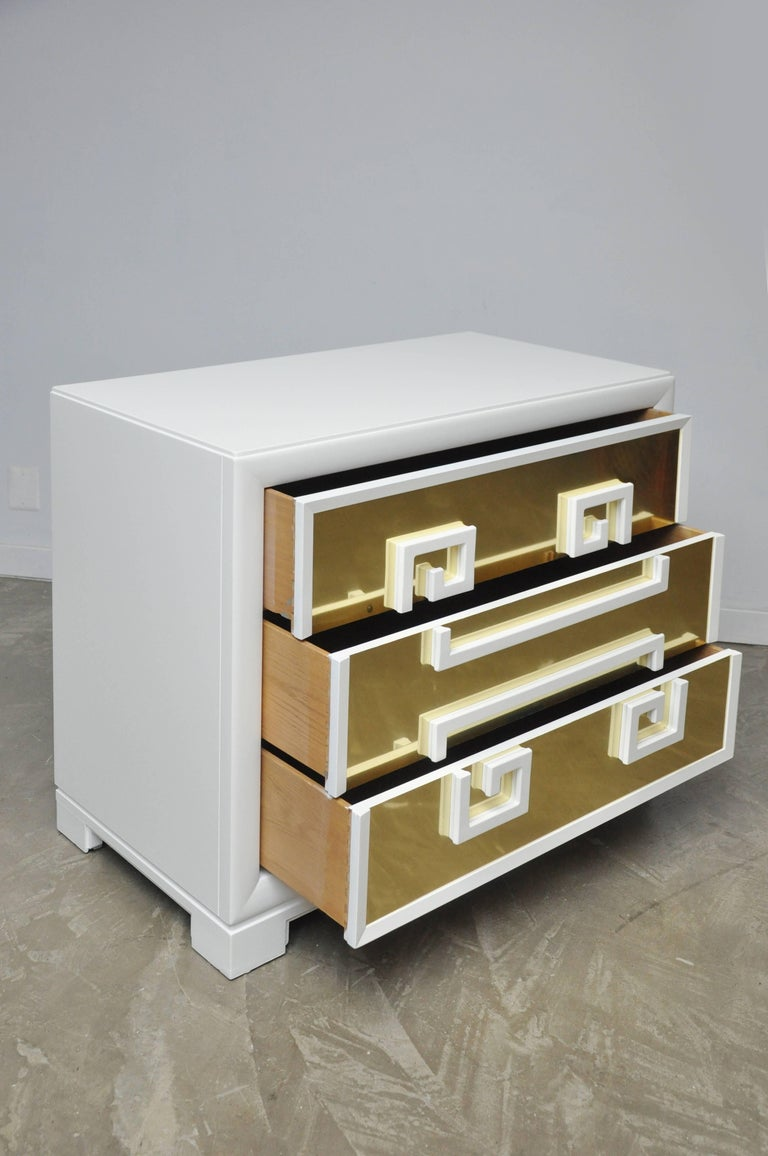 """Kittinger """"Greek Key Chests"""" in White Lacquer with Brass-Clad Drawer Fronts For Sale 3"""