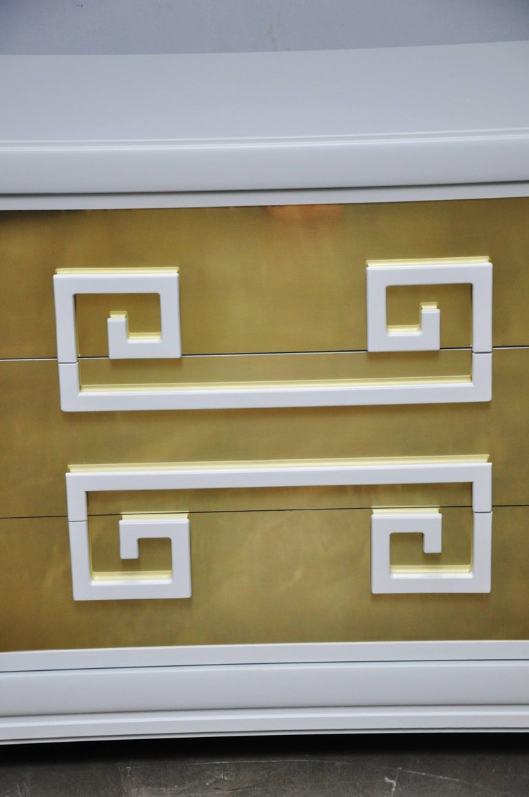 """Kittinger """"Greek Key Chests"""" in White Lacquer with Brass-Clad Drawer Fronts For Sale 1"""