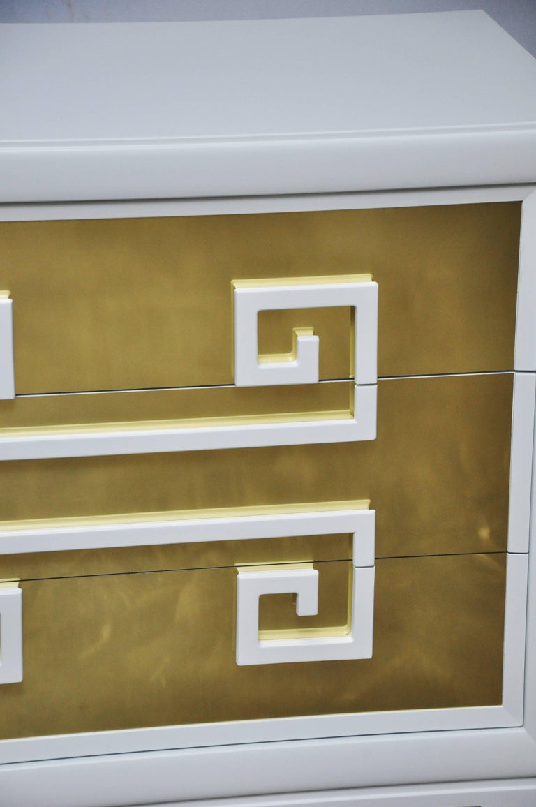 """20th Century Kittinger """"Greek Key Chests"""" in White Lacquer with Brass-Clad Drawer Fronts For Sale"""
