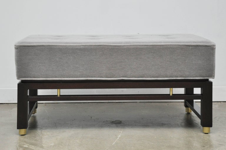 Bench by Edward Wormley for Dunbar. Fully restored. Mahogany base with brass details. Newly upholstered mohair cushion.