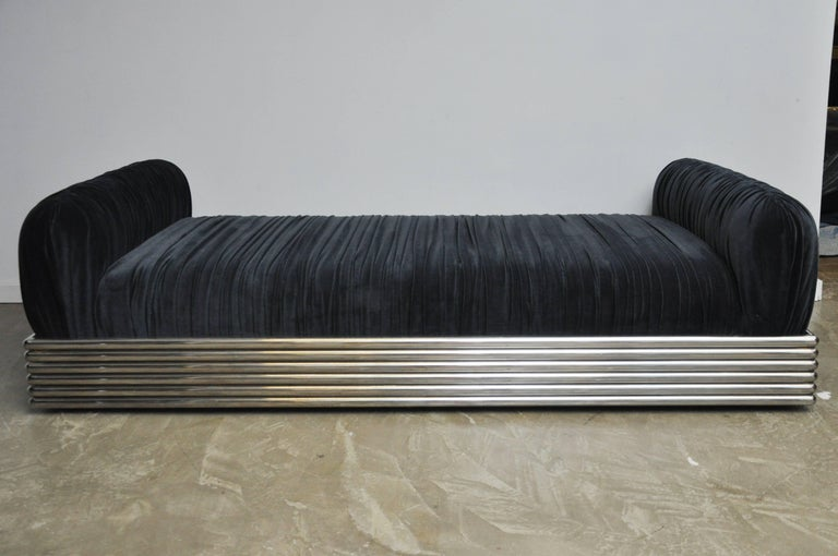 """We are proud to offer this Brueton """"Radiator"""" stainless steel frame daybed chaise lounge. Fully restored. New foam and fabric."""