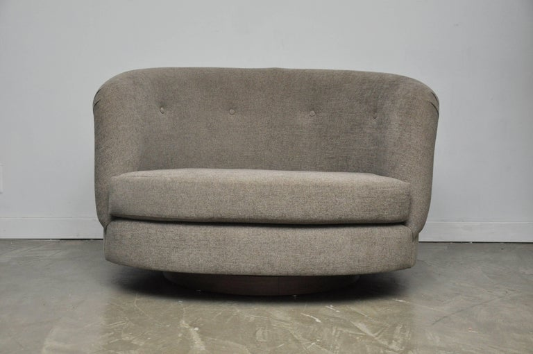 Upholstery Pair of Large Milo Baughman Swivel Chairs For Sale