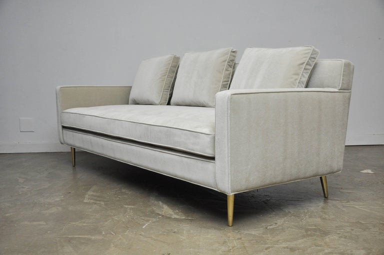 Dunbar Sofa by Edward Wormley on Brass Legs In Excellent Condition For Sale In Chicago, IL