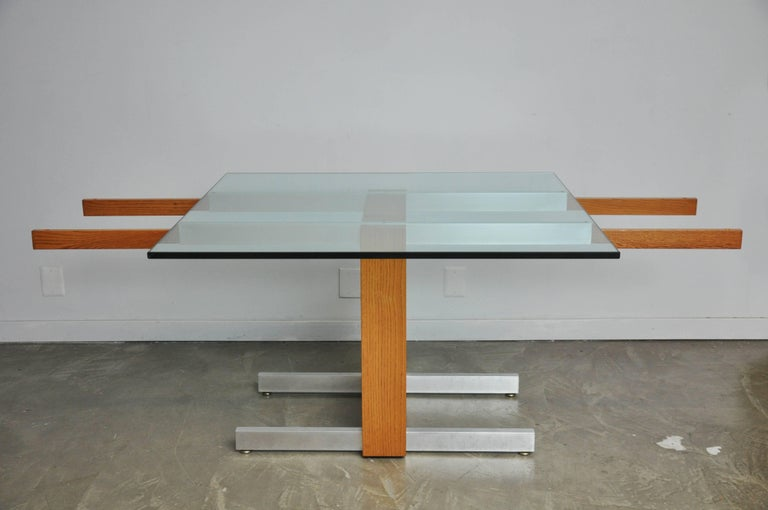 Vladimir Kagan Large Cubist Extension Dining Table in Oak, Aluminum and Glass For Sale 2