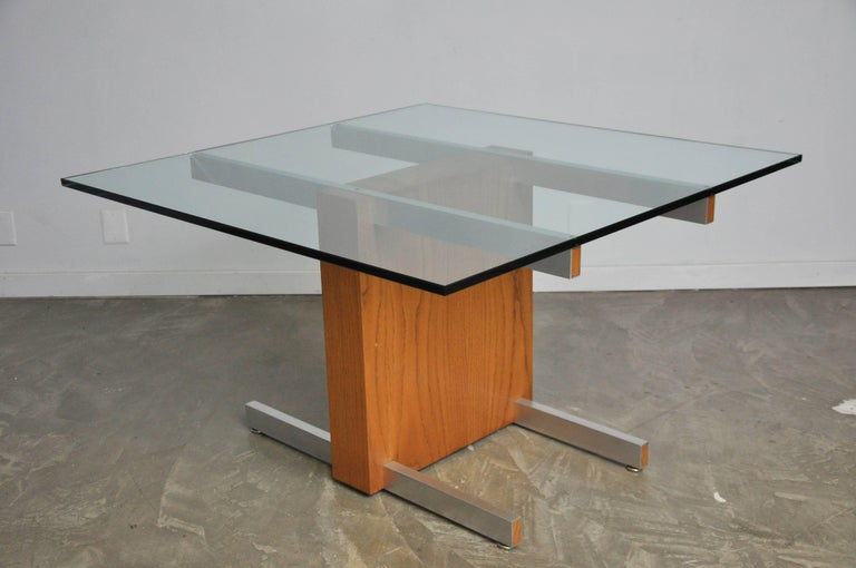 Vladimir Kagan Large Cubist Extension Dining Table in Oak, Aluminum and Glass In Excellent Condition For Sale In Chicago, IL
