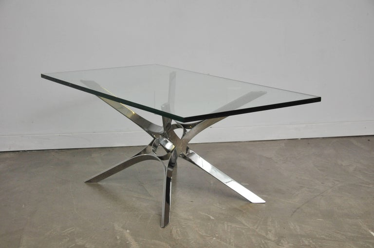 20th Century Sculptural Chrome Coffee Table by Roger Sprunger for Dunbar For Sale