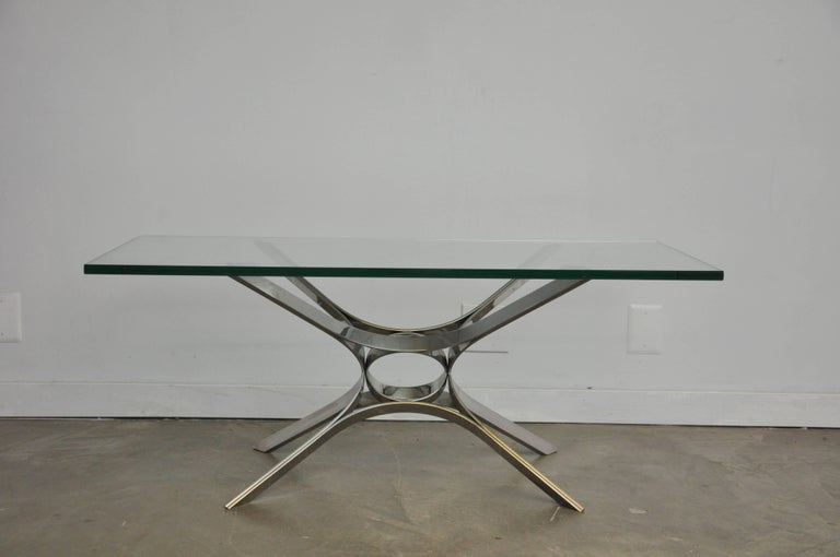 Mid-Century Modern Sculptural Chrome Coffee Table by Roger Sprunger for Dunbar For Sale