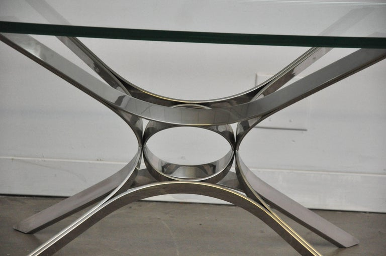 American Sculptural Chrome Coffee Table by Roger Sprunger for Dunbar For Sale