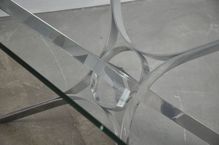 Glass Sculptural Chrome Coffee Table by Roger Sprunger for Dunbar For Sale