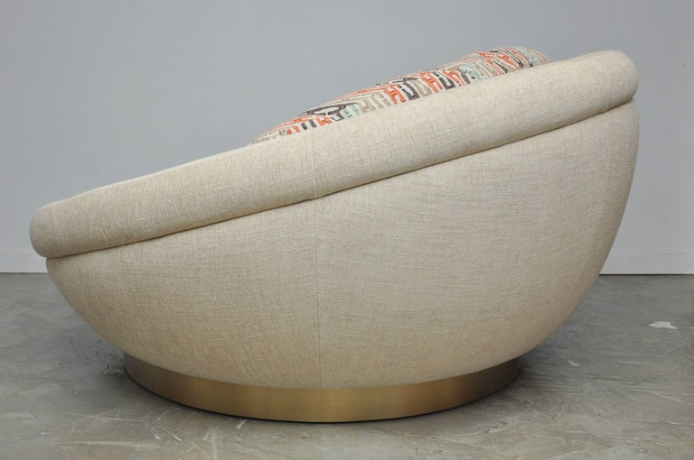 20th Century Cuddle Pod Lounge Sofa on Brushed Brass Base, circa 1970s For Sale