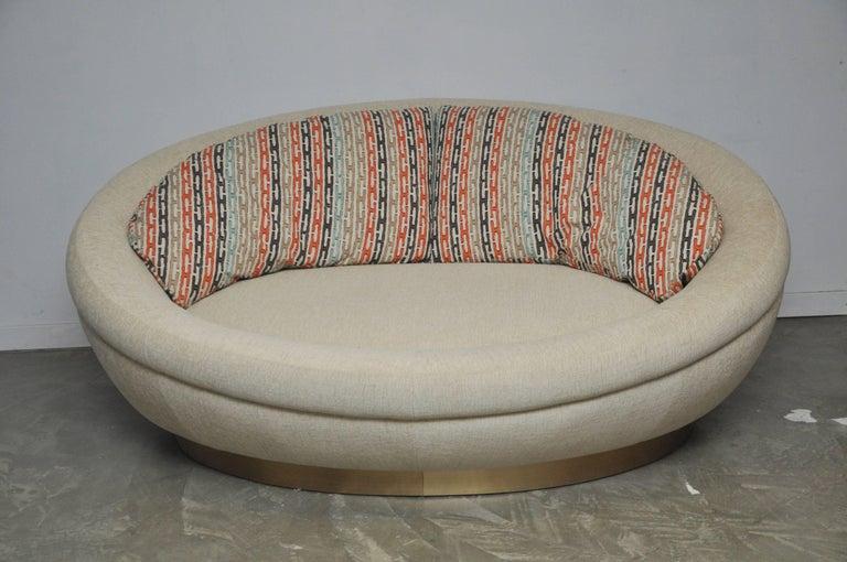 Mid-Century Modern Cuddle Pod Lounge Sofa on Brushed Brass Base, circa 1970s For Sale
