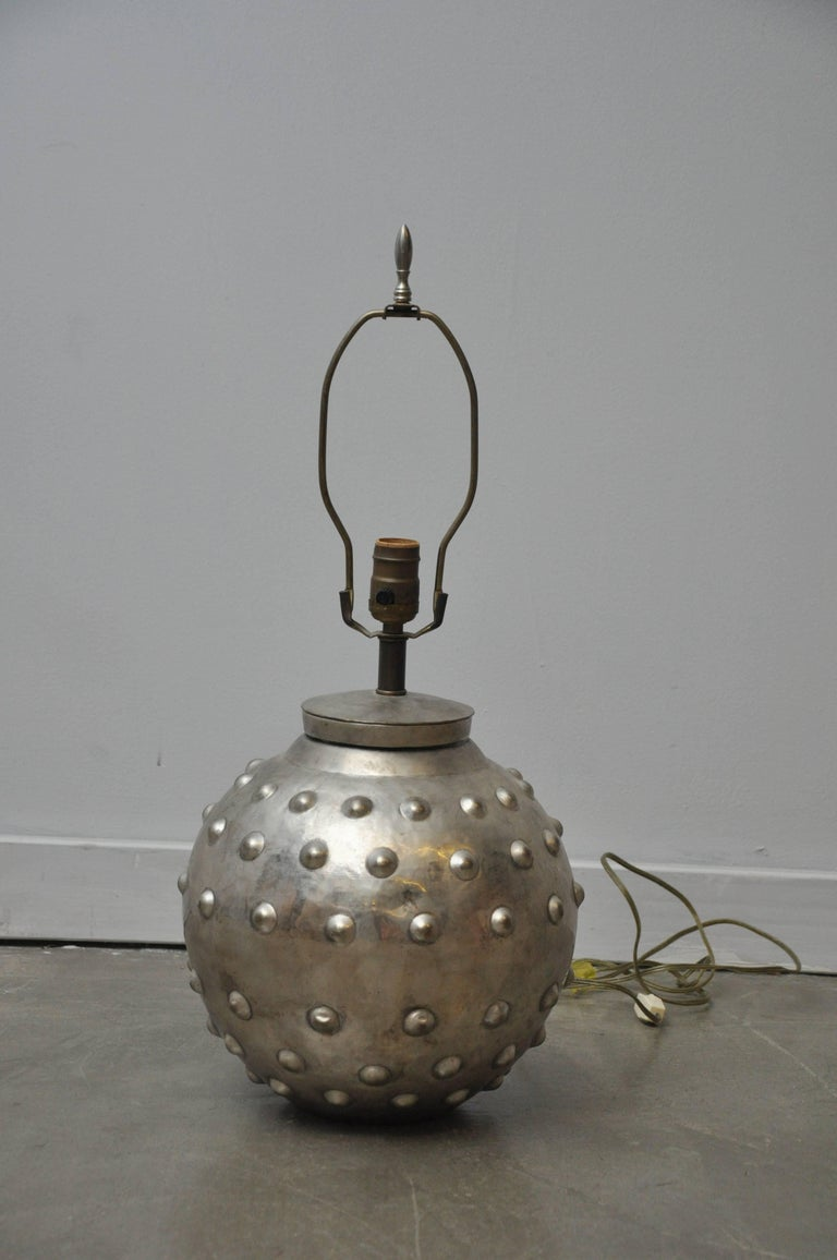 Mid-Century Modern Studded Lamp by Sarreid Ltd For Sale