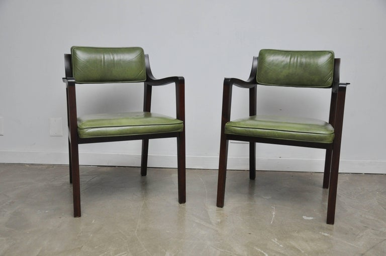 Pair of Riemerschmidt armchairs in original green leather. Frames have been meticulously refinished. Gorgeous leather has been cleaned and conditioned.