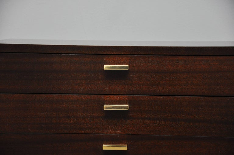 Harvey Probber three-drawer chest / nightstand /end table. A beautiful and versatile piece. Fully restored. Refinished mahogany case in espresso tone with polished brass.