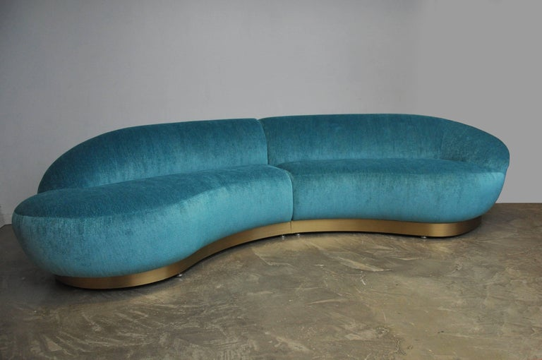 20th Century Milo Baughman Sectional Sofa on Brushed Bronze Base For Sale
