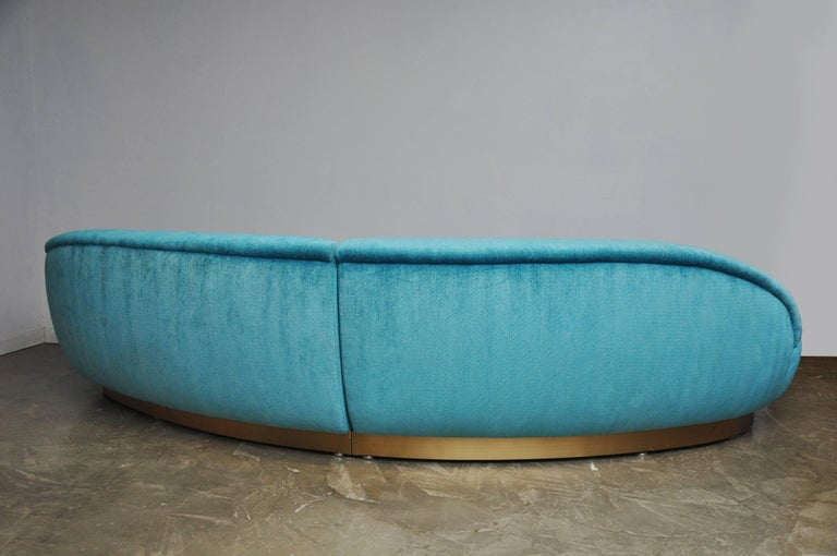 Milo Baughman Sectional Sofa on Brushed Bronze Base For Sale 2