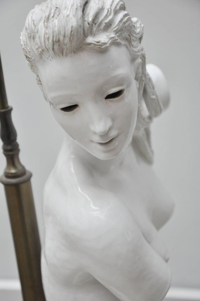Brass Female Nude from Lamps by Figli E Zaccagnini, Italy, circa 1950 For Sale