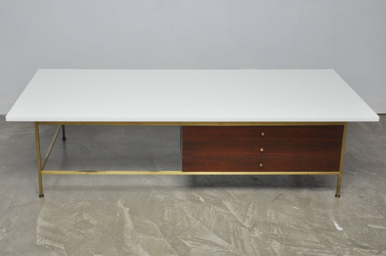 Mid-Century Modern Paul McCobb Brass Frame Coffee Table For Sale