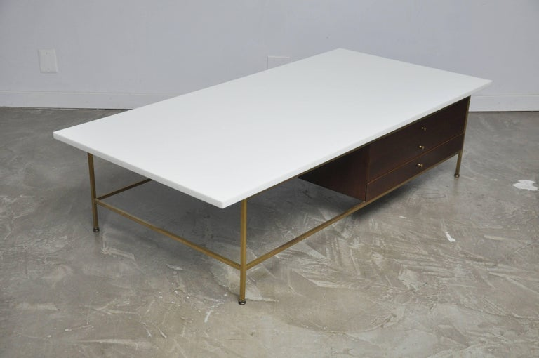 American Paul McCobb Brass Frame Coffee Table For Sale