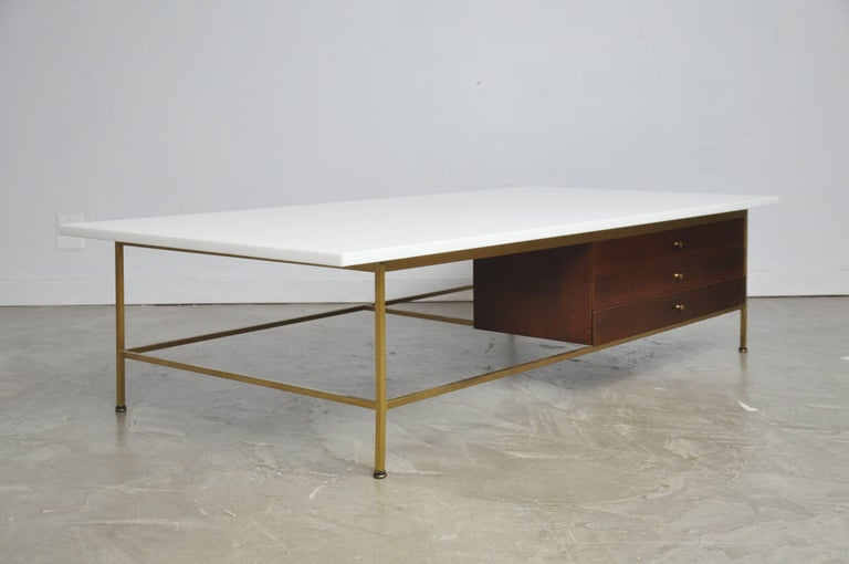 Paul McCobb Brass Frame Coffee Table In Excellent Condition For Sale In Chicago, IL