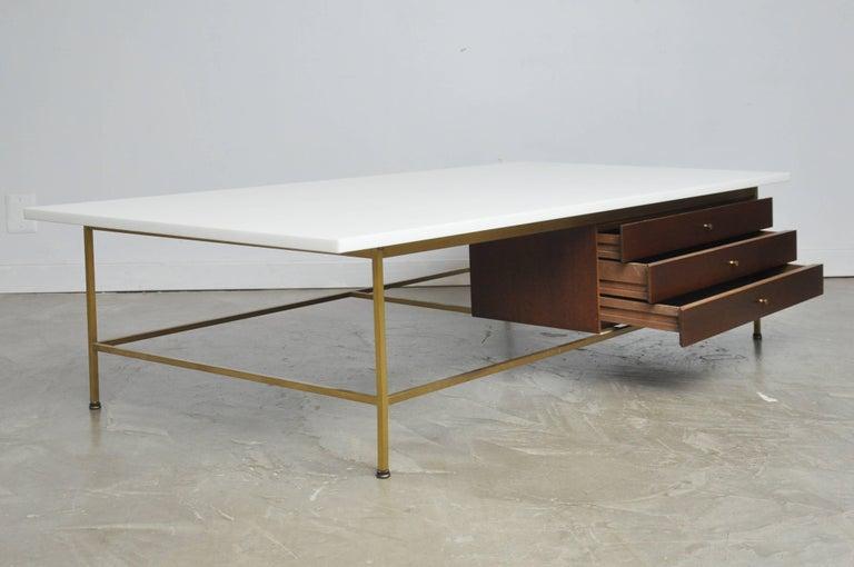Mid-20th Century Paul McCobb Brass Frame Coffee Table For Sale