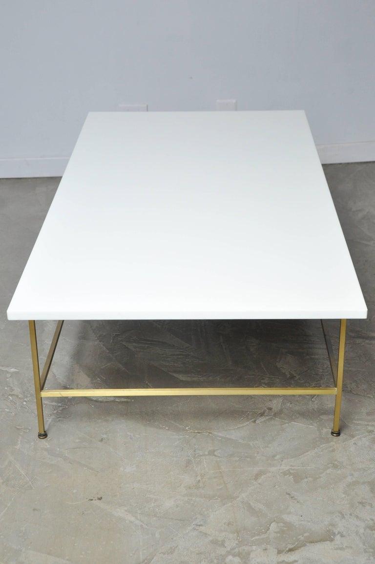 Paul McCobb Brass Frame Coffee Table For Sale 2