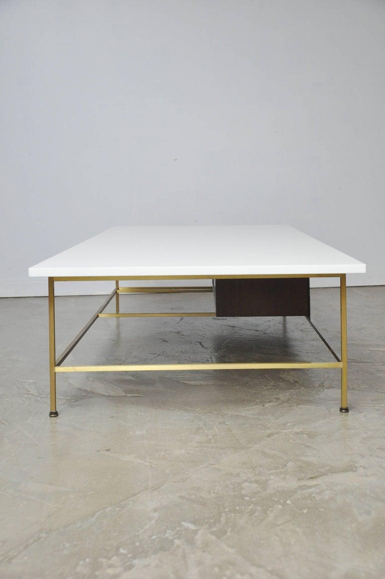 Paul McCobb Brass Frame Coffee Table For Sale 3