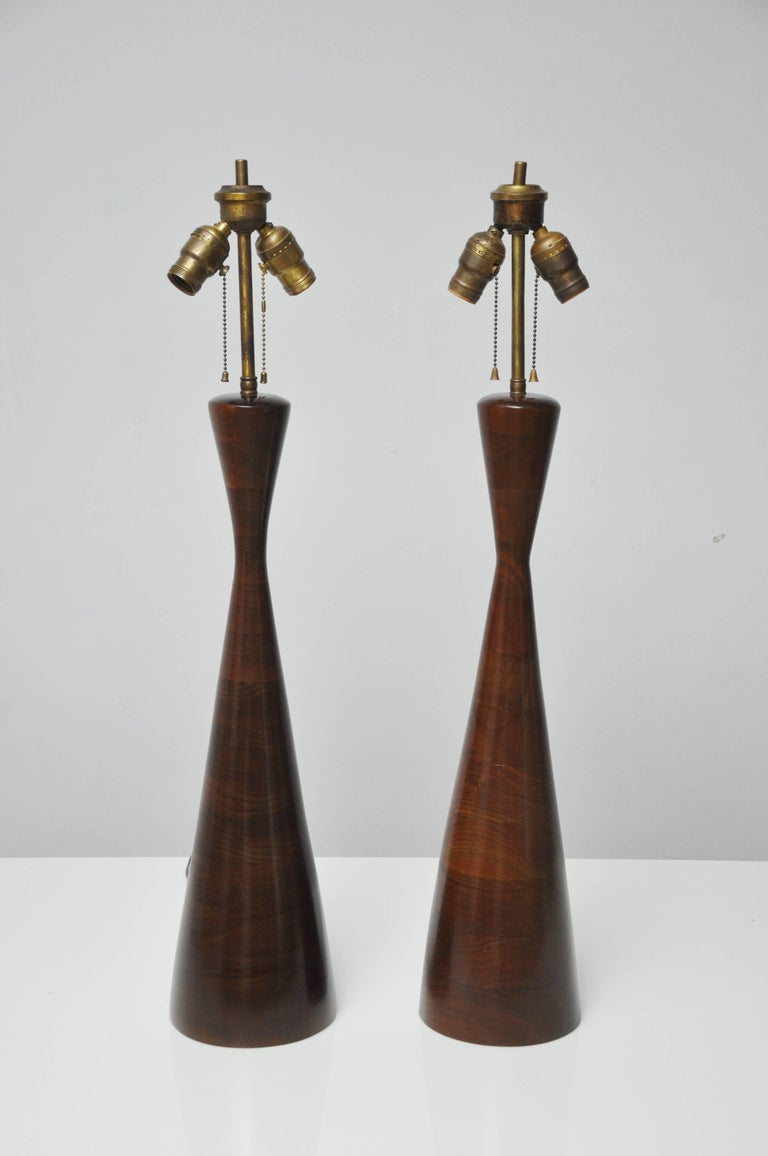 Phillip Lloyd Powell Stacked Walnut Lamps For Sale 1