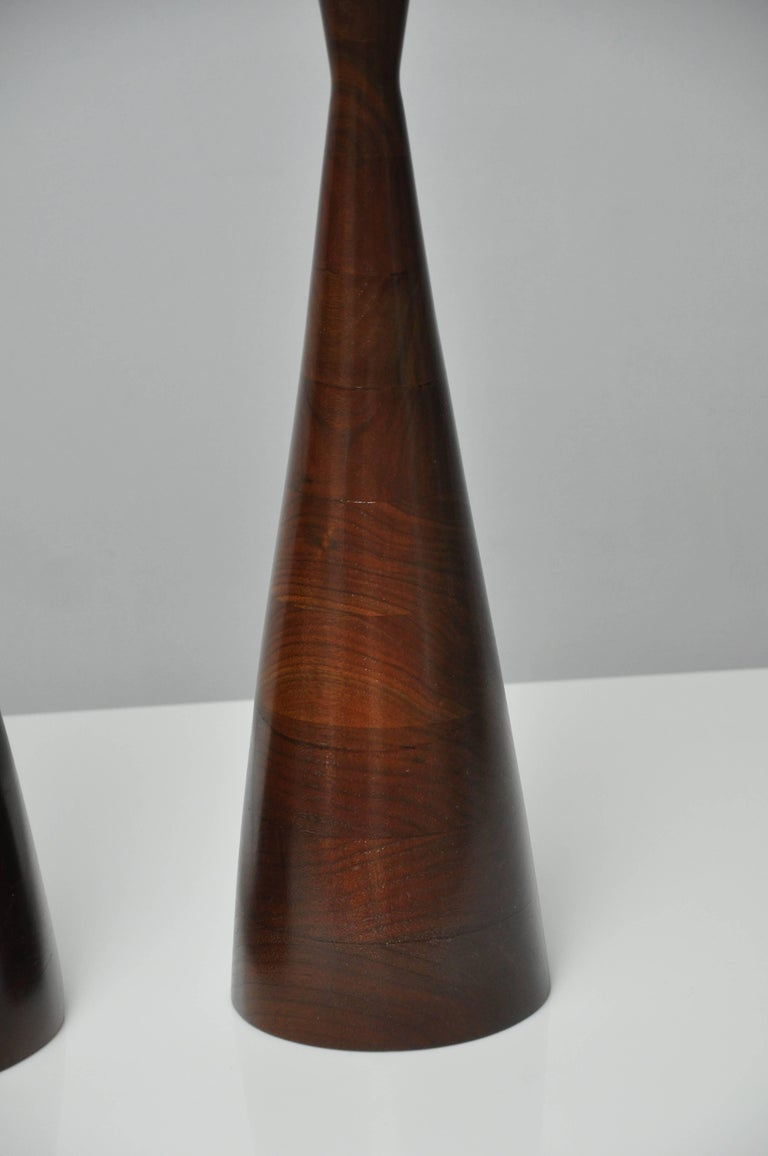 Phillip Lloyd Powell Stacked Walnut Lamps For Sale 2