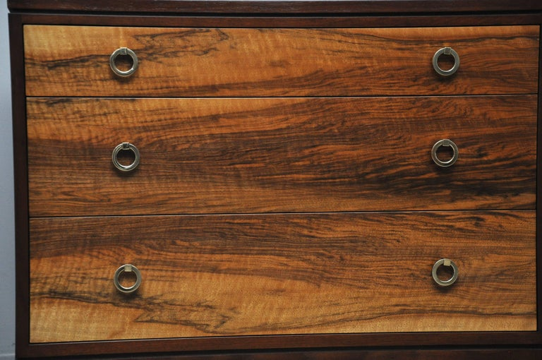 Mid-Century Modern Pair of Dunbar Walnut Front Chests, Edward Wormley For Sale
