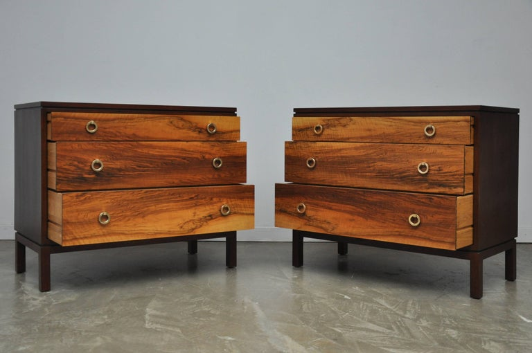 Pair of Dunbar Walnut Front Chests, Edward Wormley For Sale 1