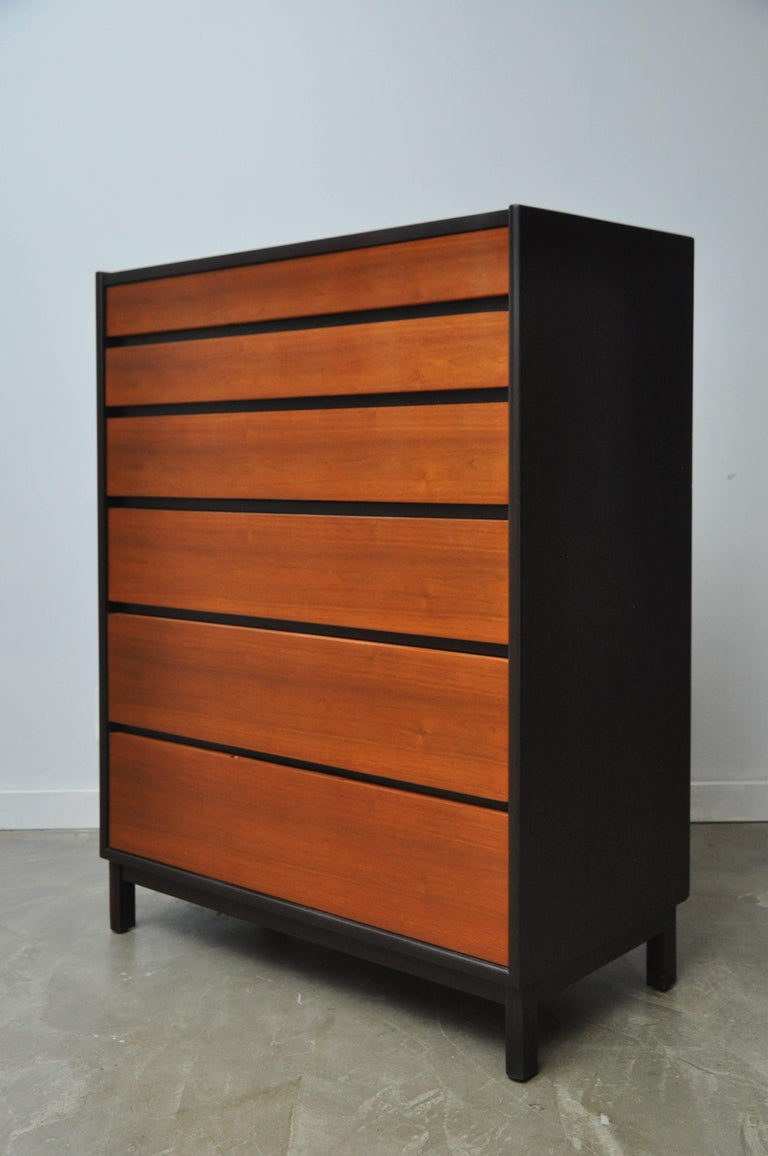 Beautiful six-drawer tall dresser by Edward Wormley for Dunbar, circa 1960. Dark espresso mahogany cases with natural walnut drawer fronts and top, giving a striking contrast. Fully restored and in excellent condition.