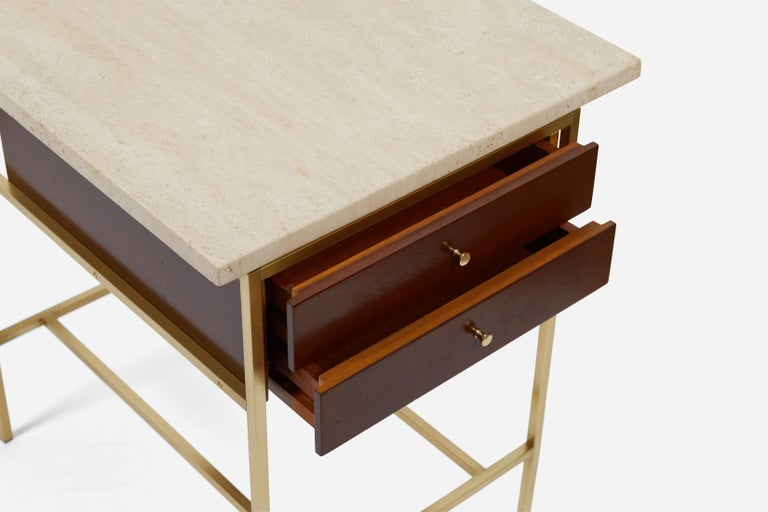 American Paul McCobb Brass Base Nightstands with Travertine Tops For Sale