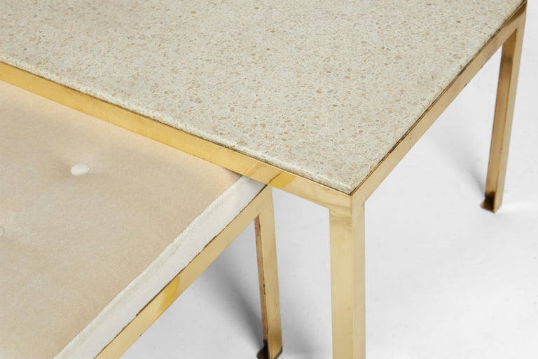 Brass frame bench with terrazzo top and coordinating bench. Bench can slide under table when not in use. Great additional seating. New upholstery.  Table measures 16 tall x 60 long x 21 deep Bench 14 tall x 47 long x 18 deep.
