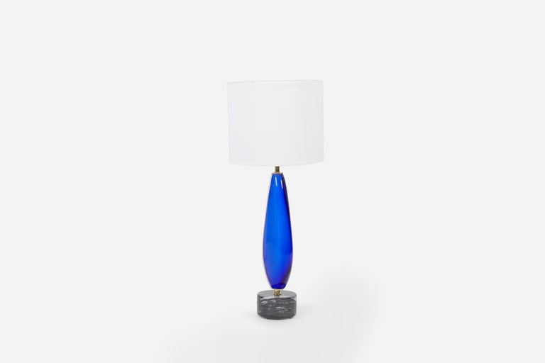 Mid-Century Modern Blue Sommerso Murano Lamp by Flavio Poli for Seguso For Sale