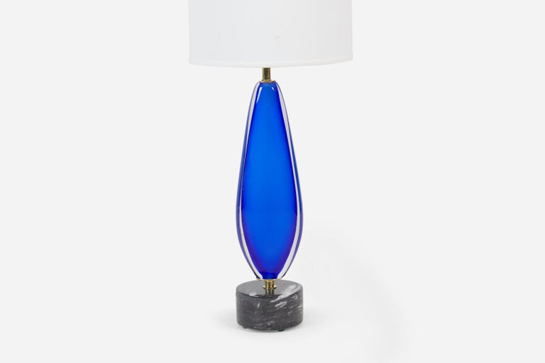Mid-20th Century Blue Sommerso Murano Lamp by Flavio Poli for Seguso For Sale