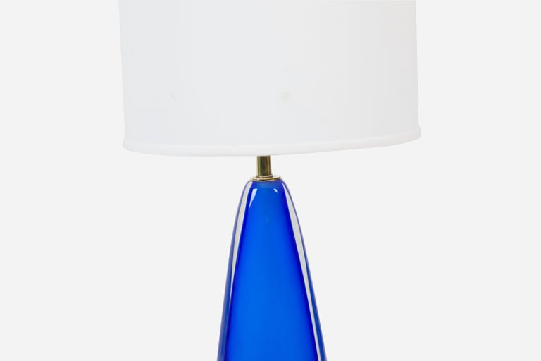 Blue Sommerso Murano Lamp by Flavio Poli for Seguso In Excellent Condition For Sale In Chicago, IL