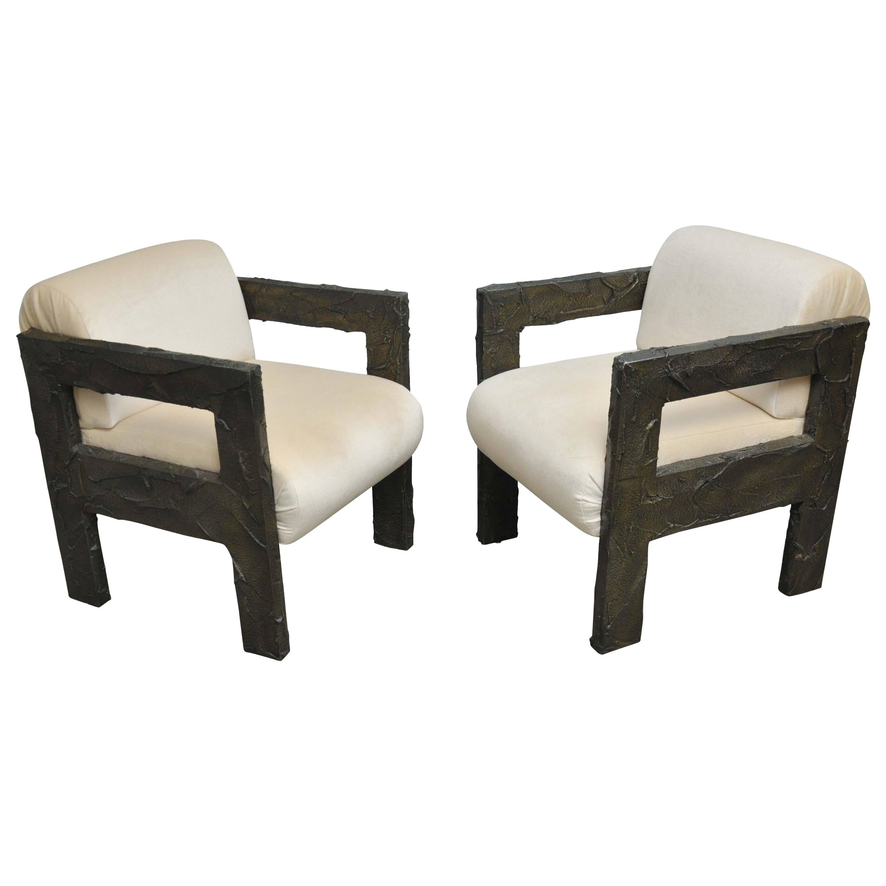 Rare Lounge Chairs By Paul Evans, Circa 1968. Sculpted Bronze Frames With  New Mohair