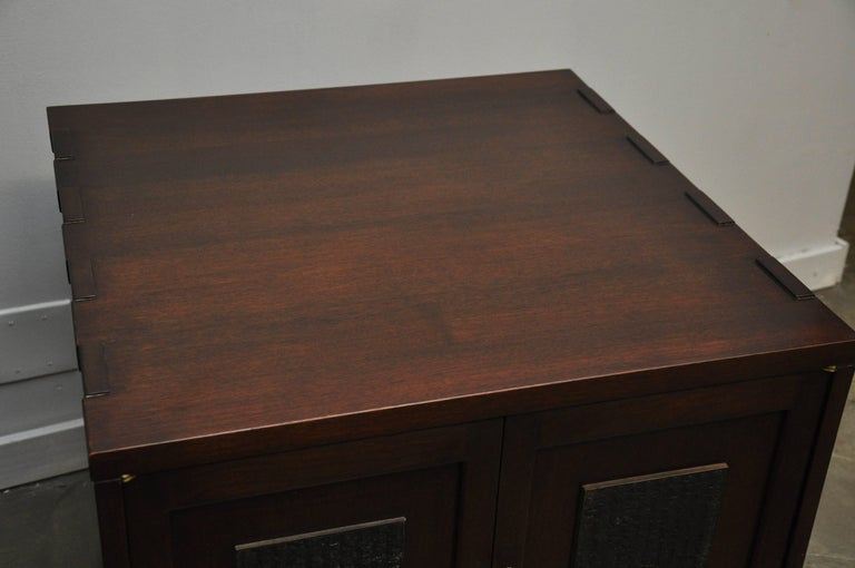 Pair of custom ordered Japanese block side table or nightstands by Edward Wormley for Dunbar. One of a kind custom ordered with X-bases. Original dark mahogany finish in excellent condition. Both with brass keys.