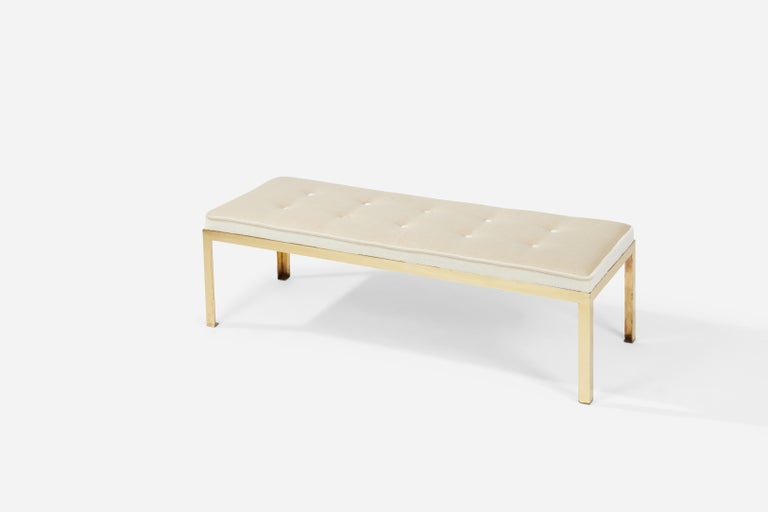 Terrazzo Coffee Table on Brass Frame with Matching Bench In Excellent Condition For Sale In Chicago, IL